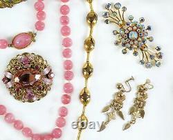 Antique Vintage Victorian Art Deco Nouveau Jewelry Lot Gold Silver Tone Estate T