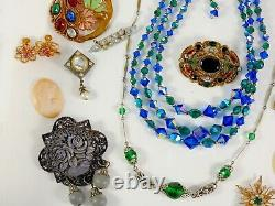 Antique Vintage Victorian Art Deco Nouveau Jewelry Lot Gold Silver Tone Estate W