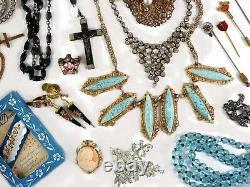 Antique Vintage Victorian Art Deco Nouveau Jewelry Lot Gold Silver Tone Estate Z