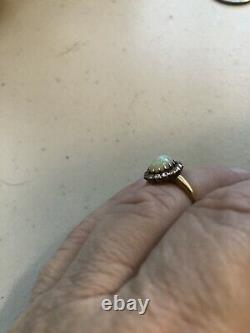 Antique Vintage Victorian Mine Cut Diamond Fire Opal Halo Ring 14k Estate Piece