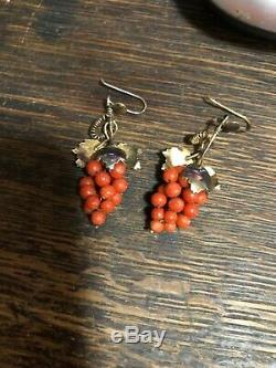 Antique Vintage Victorian Red Coral Grape Earrings 1880s Rare Estate Find