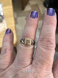 Antique Vintage Victorian Rose Gold Diamond Ring Estate Find Size 6.5 Gorgeous
