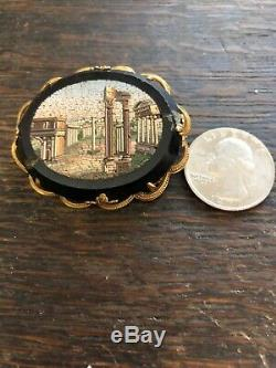 Antique Vintage Victorian Scenic Micro Mosaic Pin Estate Piece As Is 1880s