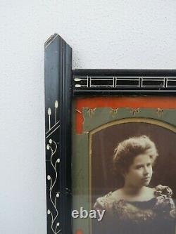 Antique estate Victorian black Eastlake carved wooden frame 11.5 x 7 inches