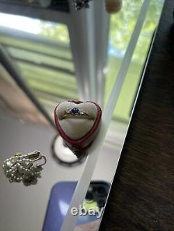 Antique vintage victorian diamond sapphire ring estate piece 14k size 7