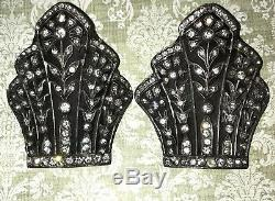 Atq Rare Fishel Nessler Victorian Heraldic Rhinestone Crown Shoe Buckles-Estate