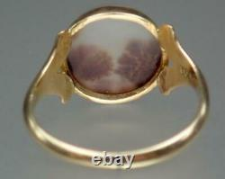 Beautiful Antique Victorian Estate 10K Gold Moss Agate Floral Ring Size 5.75