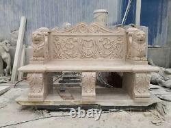Beautiful Hand Carved Antique Stone Victorian Style Estate Garden Bench Mb54