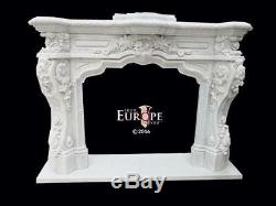 Beautiful Hand Carved Marble Estate Victorian Style Fireplace Mantel Jp974