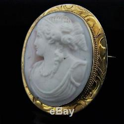 C. 1800s Antique Carved Cameo 10k Yellow Gold Victorian Pendant Brooch FOB Estate