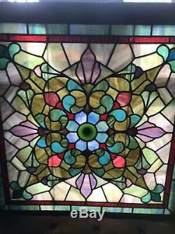Ca. 1900 Antique VICTORIAN Era ESTATE Salvaged STAINED GLASS Old LEADED WINDOW