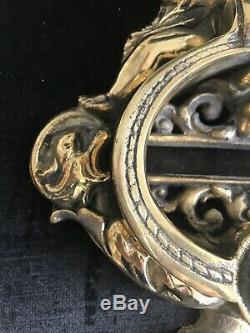 Cast Brass 10.5 Tall Door Knocker with Cherubs and Relief Mask Estate