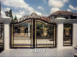 Cast Iron Entrance Estate Gate, Large Victorian Style Black and Gold toned