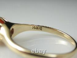 Coral Ring Antique Victorian Period Belcher 14K Yellow Estate Vintage Cabochon