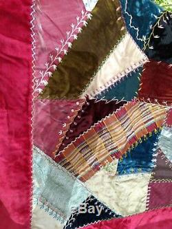 Crazy Quilt Hand Tied Antique Victorian Shaker Estate Amazing Rare Embroidery