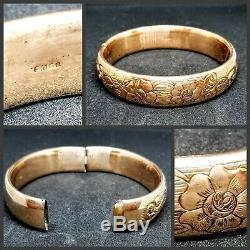 ESTATEAntique Victorian FMCO FINBERG Flower 12K Gold GF Bangle BraceletVINTAGE