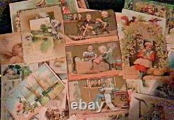 ESTATE / 125+ / Antique Victorian Trade Cards Lot Advertisement Litho
