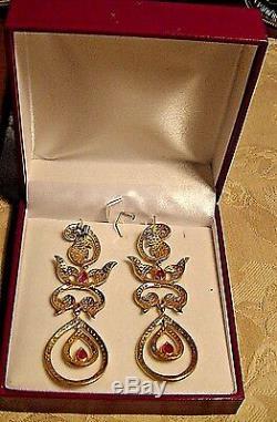 ESTATE ANTIQUE 18K CHANDELIER VICTORIAN style ROSE CUT DIAMOND RUBY EARRINGS