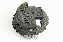 ESTATE ANTIQUE Jewelry INTRICATE VICTORIAN BOG OAK OR GUTTA PERCHA SCENIC BROOCH