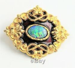 ESTATE ANTIQUE Jewelry VICTORIAN 1800s GOLD FILLED GF ENAMEL OPAL ORNATE BROOCH