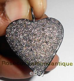 ESTATE ANTIQUE ROSE CUT DIAMOND 2.42ct BEAUTIFUL VICTORIAN HEART DESIGN PENDANT