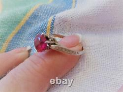 ESTATE ANTIQUE VICTORIAN 18K WHITE GOLD ORNATE RING withRED SPINEL SIZE 7
