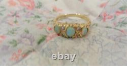 ESTATE ANTIQUE VICTORIAN ENGLISH 18K GOLD ORNATE RING withFIERY OPALS SIZE 6