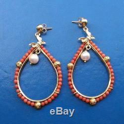 ESTATE ANTIQUE VICTORIAN LONG CORAL PINK ORANGE EARRINGS DROP Silver Gold Yellow