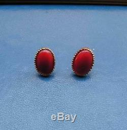 ESTATE ANTIQUE VICTORIAN LONG CORAL RED EARRINGS DROP 18k Gold Yellow