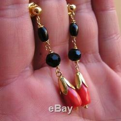 ESTATE ANTIQUE VICTORIAN LONG CORAL RED EARRINGS DROP Silver Gold Yellow