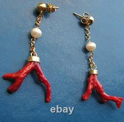 ESTATE ANTIQUE VICTORIAN LONG CORAL Red EARRINGS DROP Silver Gold Yellow Pearl
