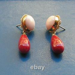ESTATE ANTIQUE VICTORIAN LONG CORAL Red + Pink EARRINGS DROP Silver Gold Yellow