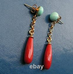 ESTATE ANTIQUE VICTORIAN LONG CORAL Red + Turquois EARRINGS DROP Silver Yellow