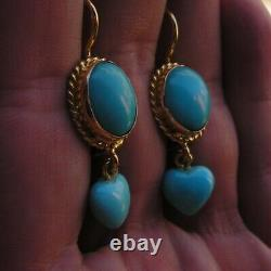 ESTATE ANTIQUE VICTORIAN LONG Turquois Heart EARRINGS DROP Silver Yellow