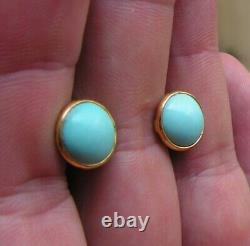 ESTATE ANTIQUE VICTORIAN LONG Turquois Oval EARRINGS Silver Yellow
