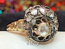ESTATE Antique 14K GOLD Georgian Diamond Ring VICTORIAN CLUSTER ROSE CUT