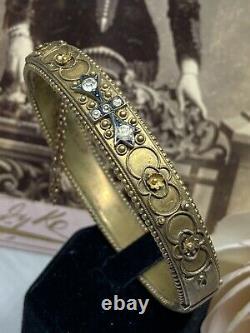 ESTATE Antique Victorian 1880s OLD CUT Paste Etruscan Revival GF Bangle Bracelet