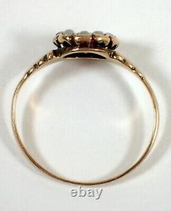 ESTATE Antique Victorian SOLID 10k Gold Seed Pearl & Pink Stone Ring Sz 6.5
