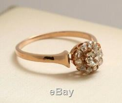 ESTATE SALE 14K Rose Gold Old Miner's Diamond Ring Victorian Style