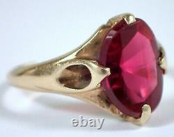 ESTATE Uncas Antique Victorian 2.4g SOLID 10k Gold Pink Faceted Stone Ring Sz 5