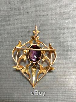 ESTATE Victorian heart-shape 9k Gold Amethyst & Seed Pearl pendant / brooch