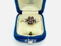 Early Victorian 14K Rose Gold Garnet Cluster Ring