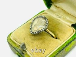 Early Victorian 14K Rose Gold Silver Rose Cut Diamond Hair Mourning Ring