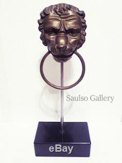 Early Victorian Lion door knocker with stand from prominent estate collection
