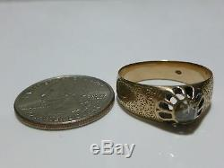 Edwardian Victorian 14k Gold Mine Rose Cut Antique Estate Unisex Ring Band