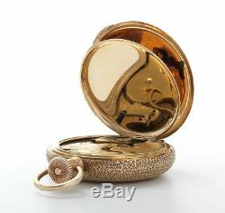 Elgin Antique 14k Gold Diamond Enamel Floral Pocket Watch-Victorian Watch-Estate