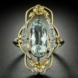 Elongated Victorian Edwardian Estate Ring 4.2 Ct Aquamarine 14K Yellow Gold Over