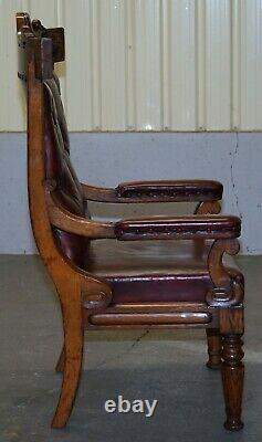 English Estate Circa 1840 Royal Crown Stamped Oxblood Leather Throne Armchair
