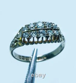 English Victorian Antique Old Mine Miner Cushion Diamond Ring 18K Gold Estate