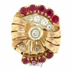 Estate 14k Rose Gold Ruby Diamond Cocktail 1880s Antique Victorian Ring